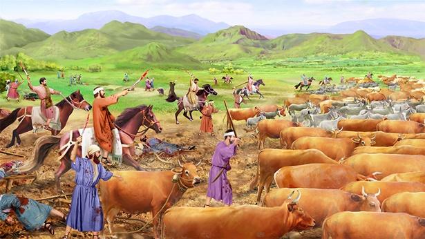 Satanás tienta a Job por primera vez (le roban su ganado y la calamidad cae sobre sus hijos)