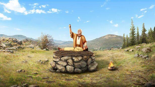 Abraham levanta su cuchillo con una mano y con otra tapa los ojos a Isaac, que está acostado en el altar, listo para matarlo