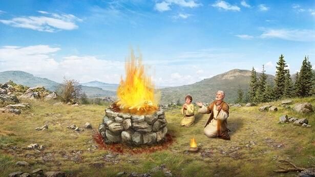 Abraham y su hijo se arrodillan ante el altar y ofrecieron alabanza a Dios.