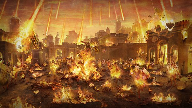 El fuego de azufre bajó en la ciudad de Sodoma, los animales y los animales fueron quemados y la ciudad fue destruida