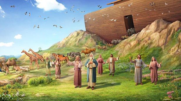 Ellos sale del arca con los animales