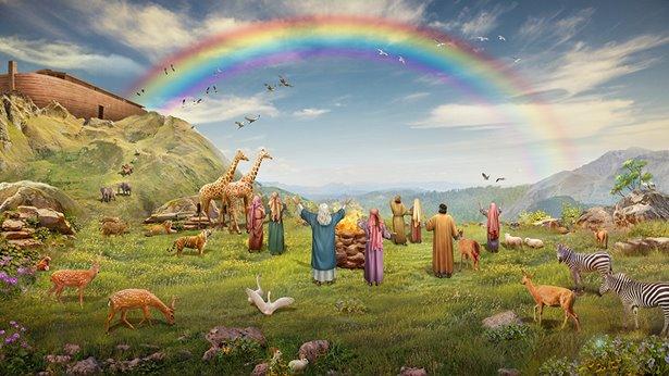cuando ellos ven el arcoiris, vitorean con los animales