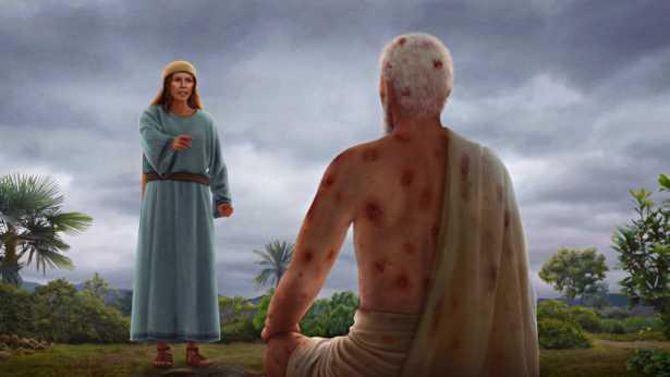 Satan tente Job une fois de plus (un ulcère malin couvre tout le corps de Job)