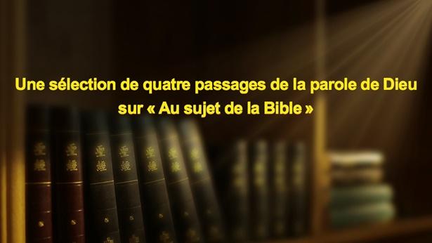 Une sélection de quatre passages de la parole de Dieu sur «Au sujet de la Bible»