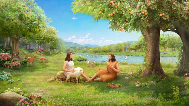 Dio utilizza le pelli di animali per realizzare i vestiti per Adamo ed Eva