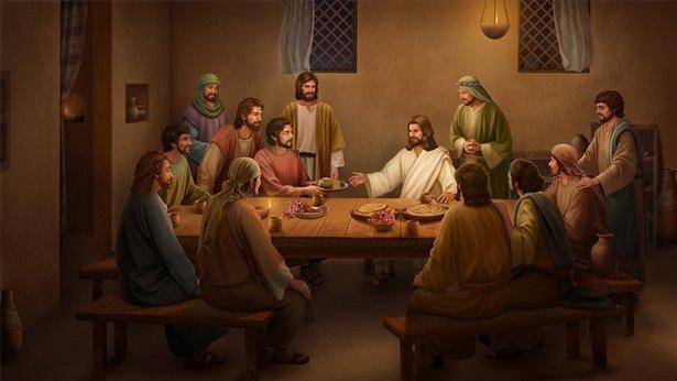 Воскресший Иисус ест хлеб и объясняет Писание