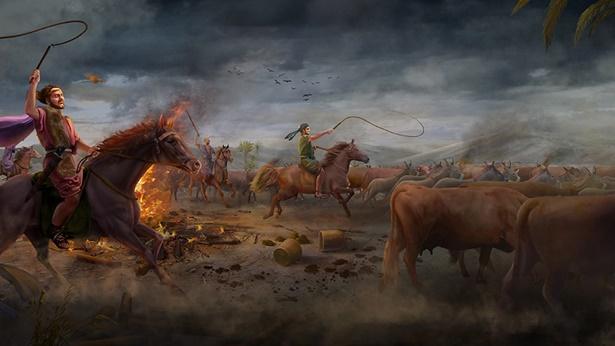 约伯的牛驴被掠