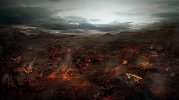 约伯的仆人和群羊被火烧灭