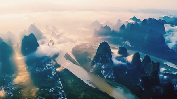 航拍山水风景